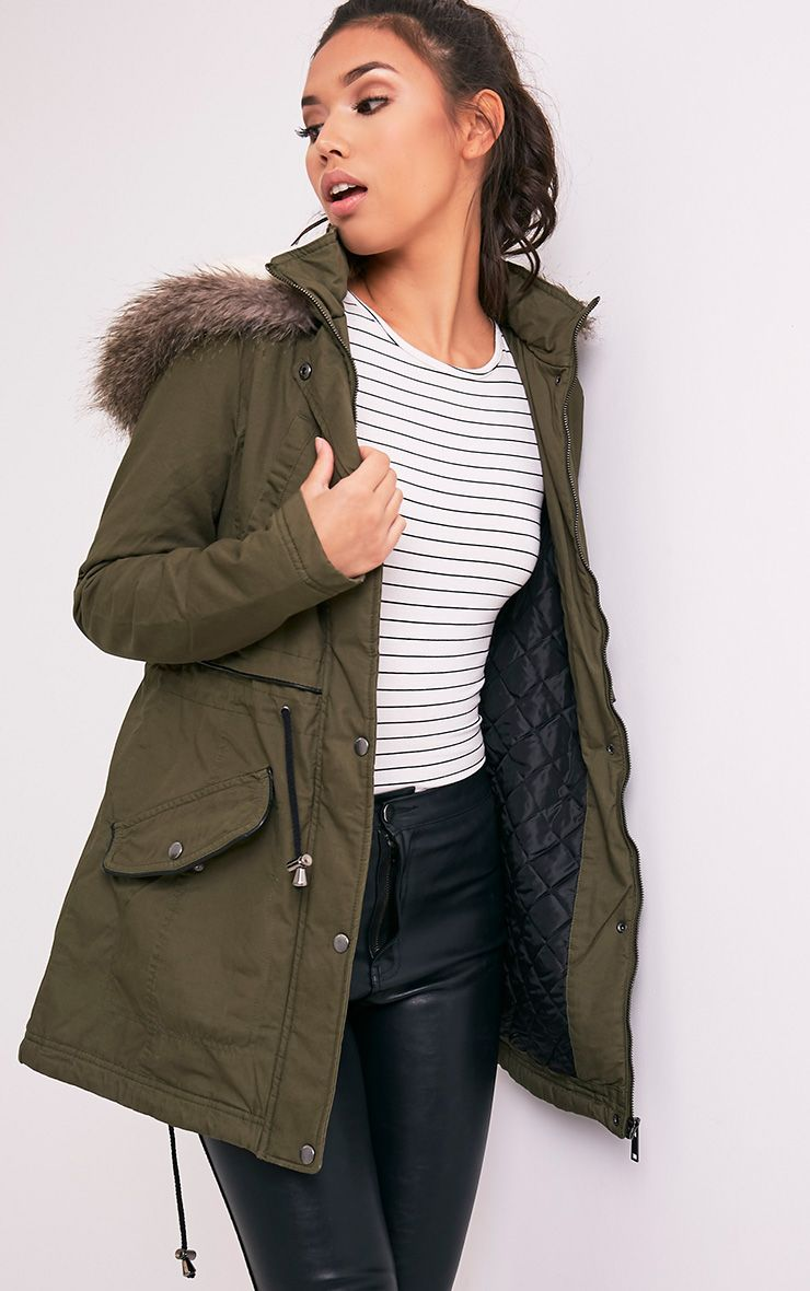 Jarilyn Khaki Faux Fur Hooded Parka