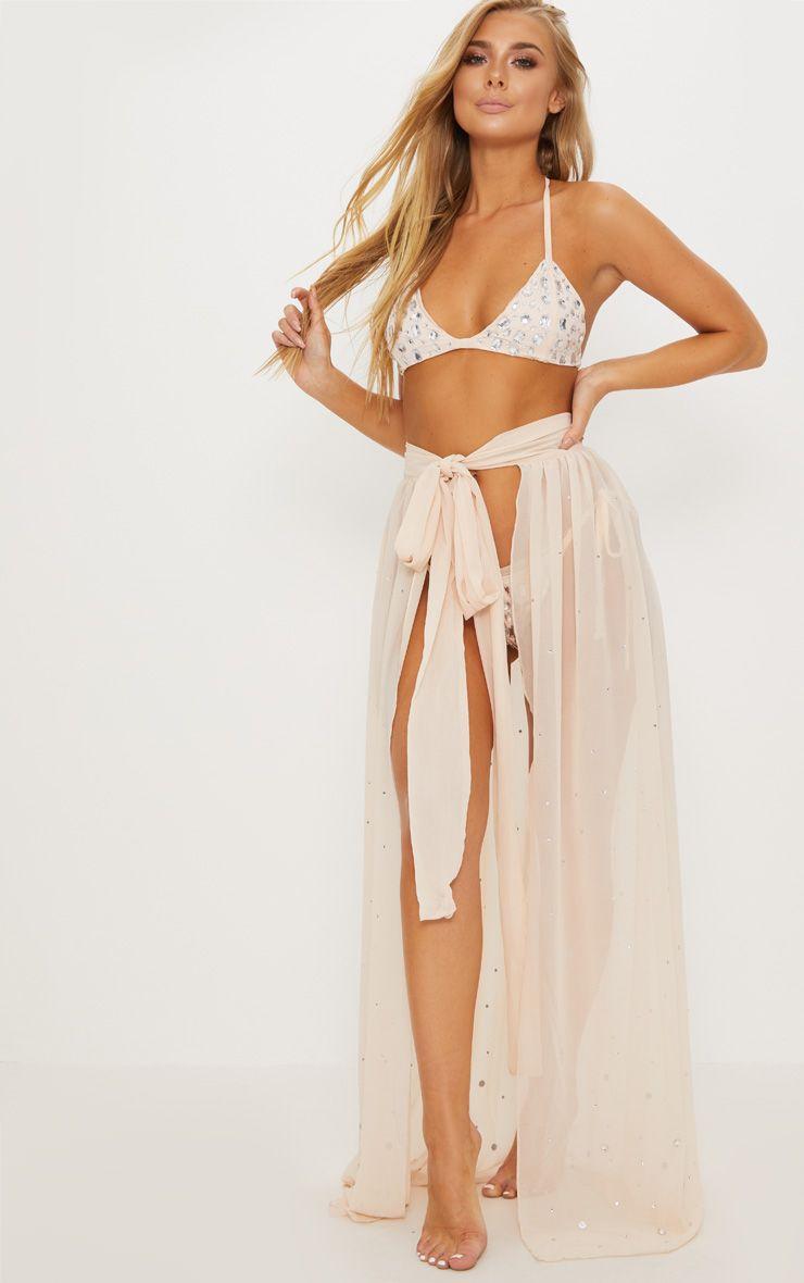 Premium Nude All Over Diamante Maxi Skirt