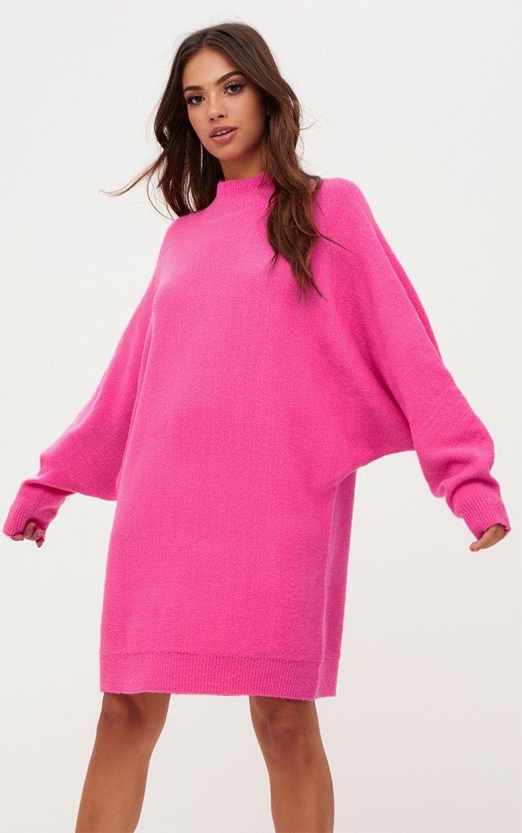Pink Oversized Jumper Dress