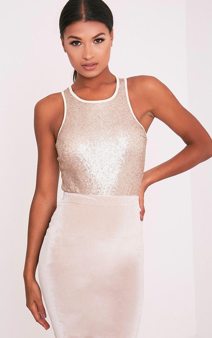 Laisha Gold Sequin High Neck Slinky Thong Bodysuit