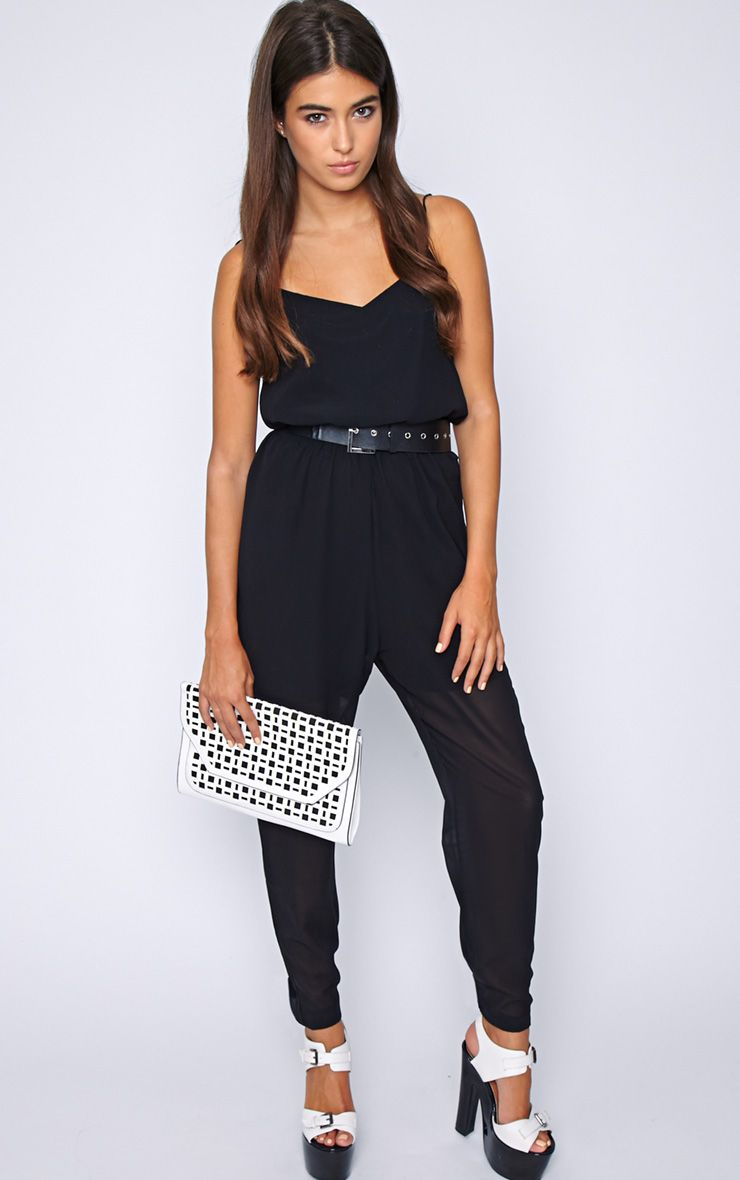 Annabel Black Chiffon Strappy Jumpsuit 1