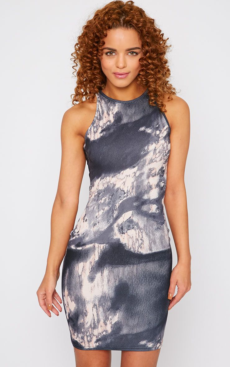 Amina Grey Marble Print Bodycon Mini Dress 1