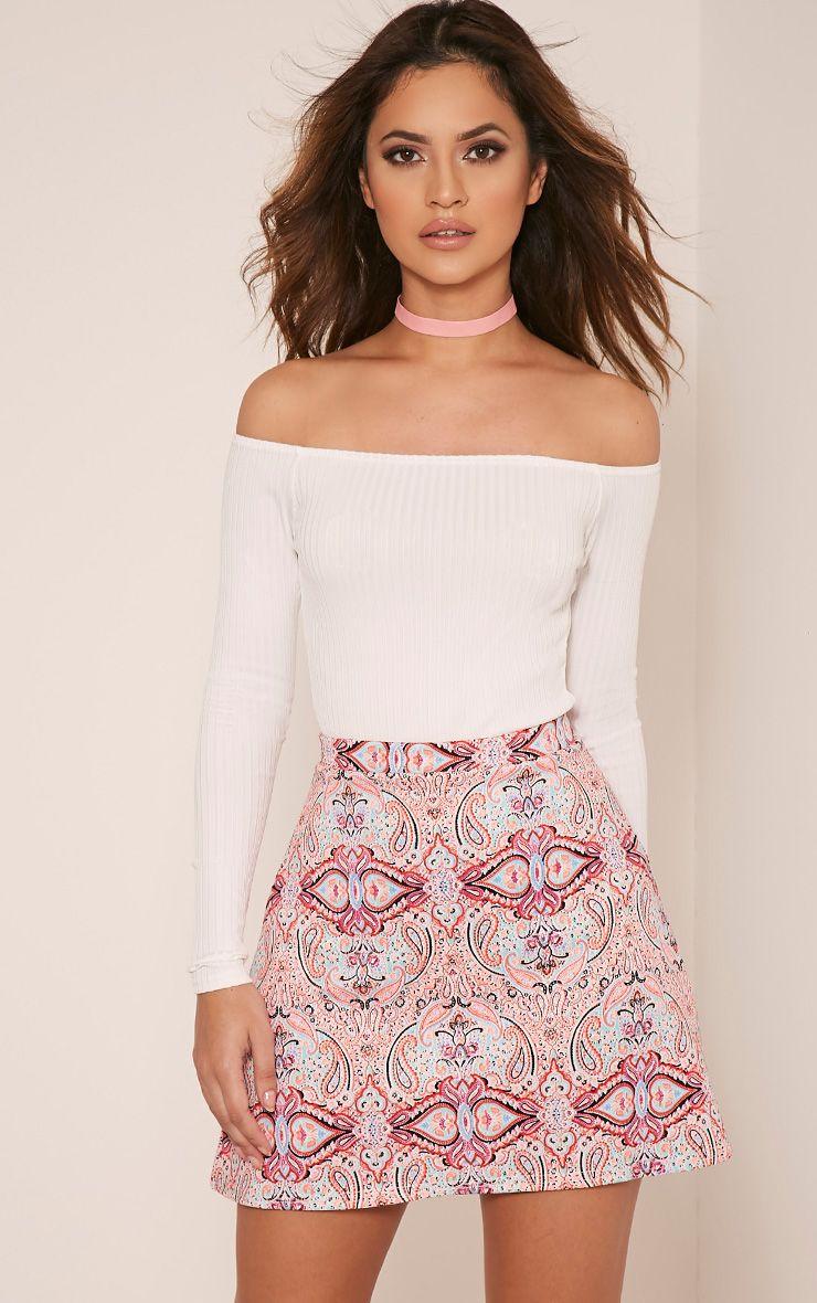 Deltie Neon Pink Paisley Print A-Line Mini Skirt