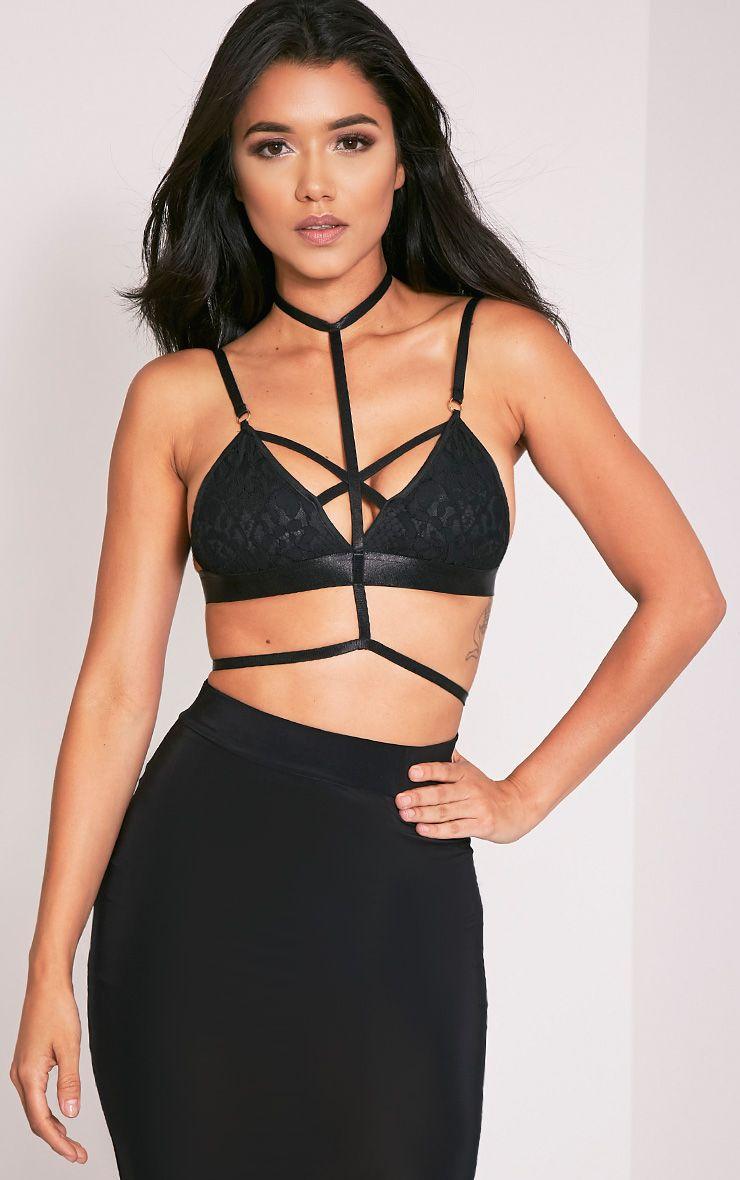 Kamilla Black Harness Lace Bralet