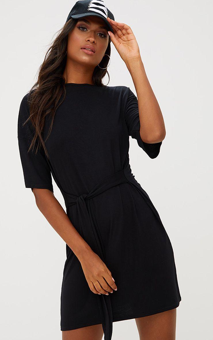 Black Tie Waist T Shirt Dress