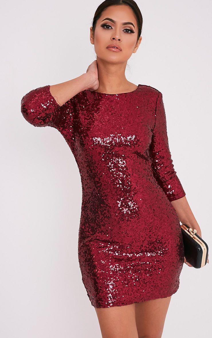 Eida Wine Sequin Bodycon Dress