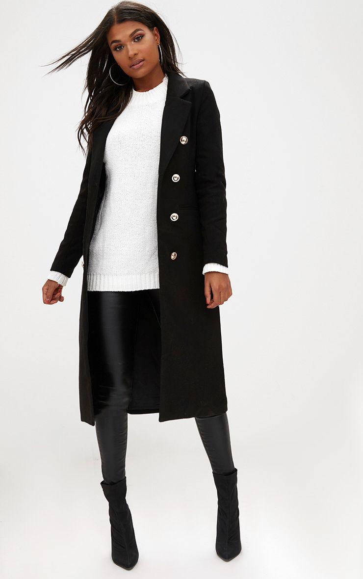 Black Longline Double Breasted Coat