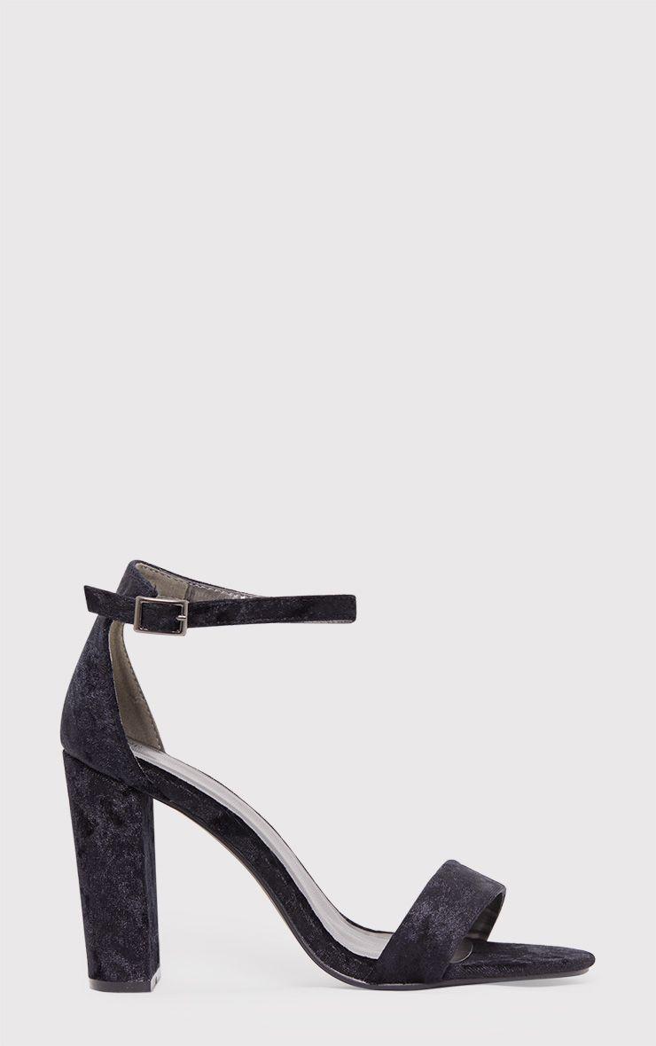 May Black Crushed Velvet Block Heeled Sandals 1