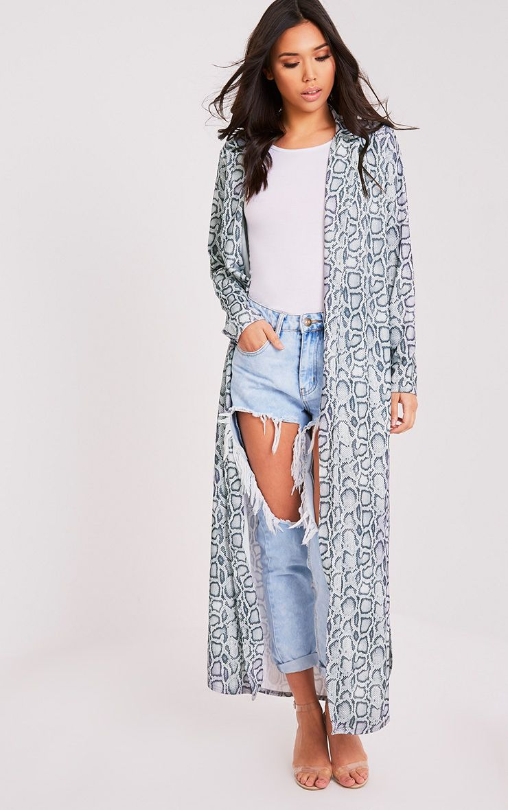 Kalene Grey Snakeprint Duster Jacket