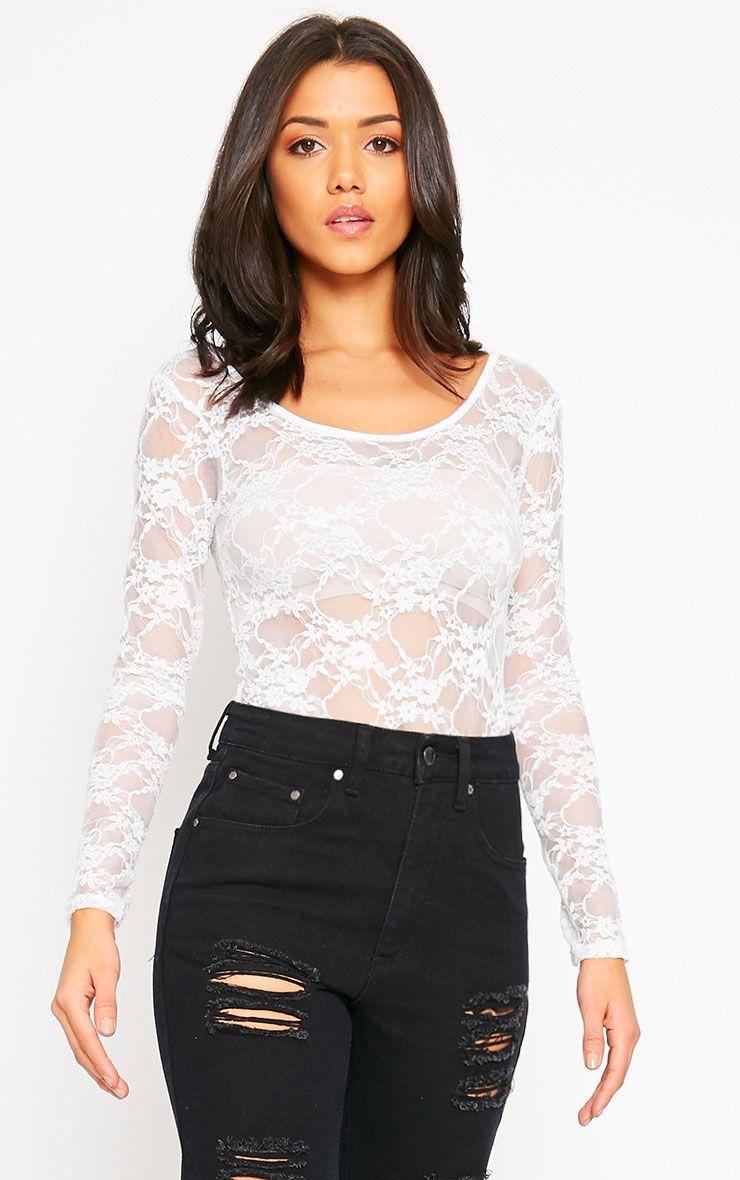 Elsie White Lace Bodysuit  1