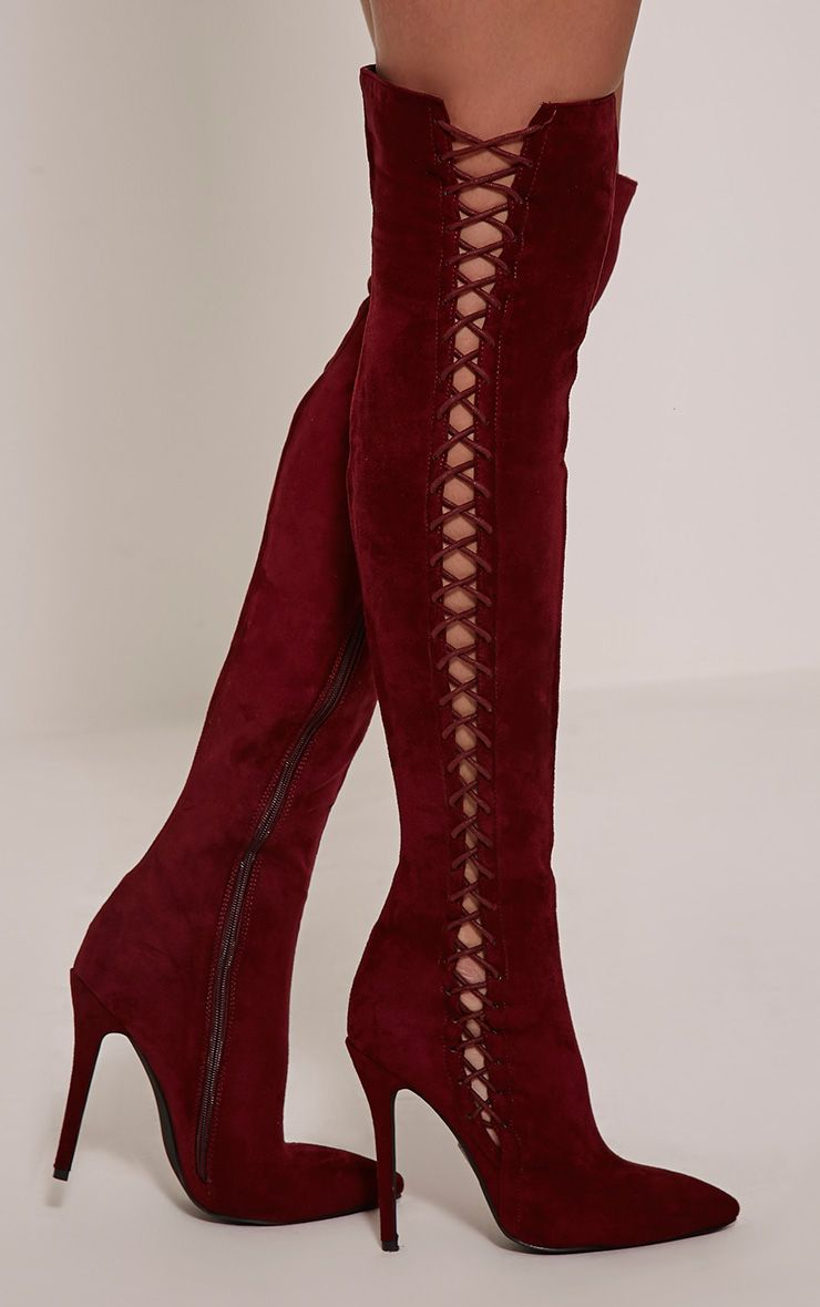 Quinna Wine Lace Detail Knee High Boot 1