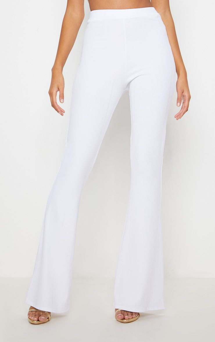 WHITE BANDAGE FLARED TROUSER