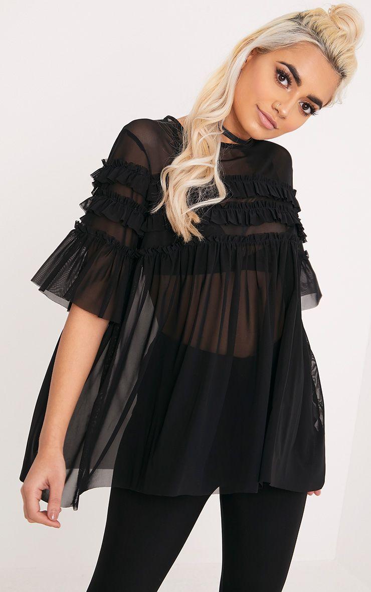 Eloisa Black Mesh Frill Detail T Shirt