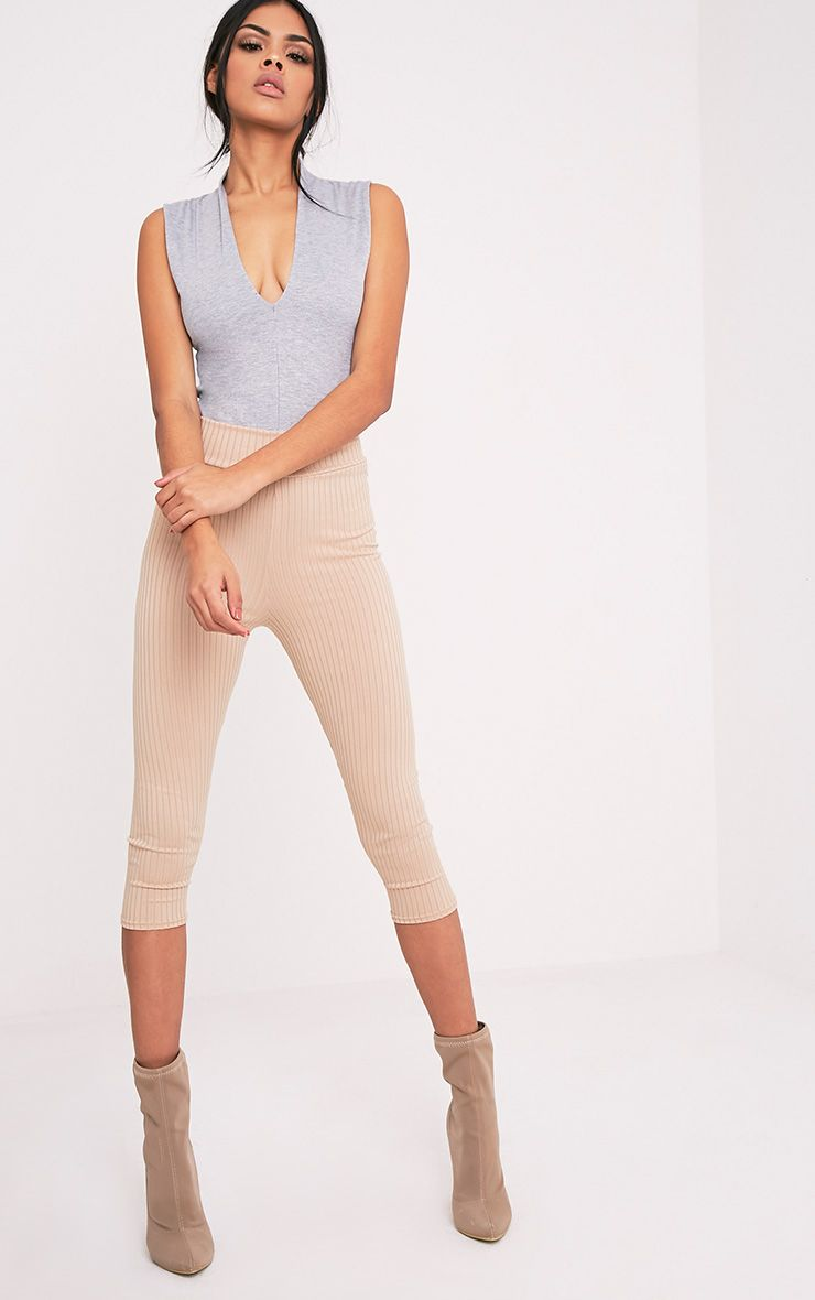 Kaytlyn Grey Jersey Rib Thong Bodysuit