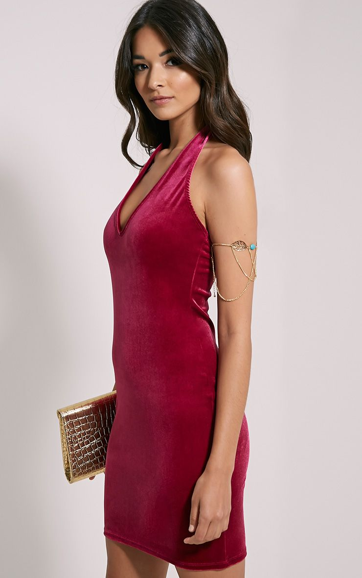 Suzie Cerise Velvet Mini Dress 1