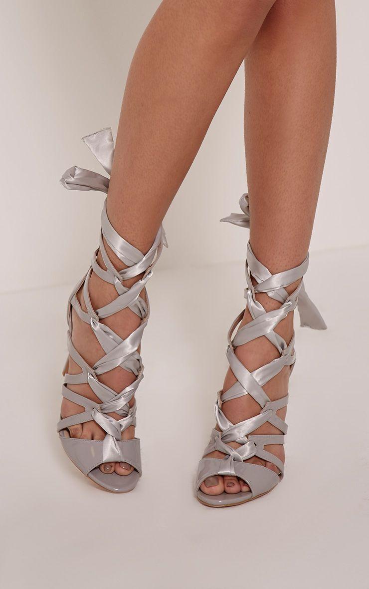 Carrey Grey Ribbon Lace Sandals 1