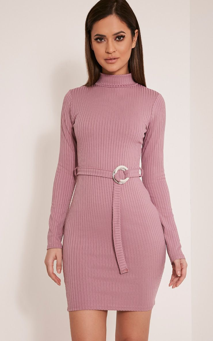 Mya Mauve Belt Detail Ribbed Bodycon Dress 1