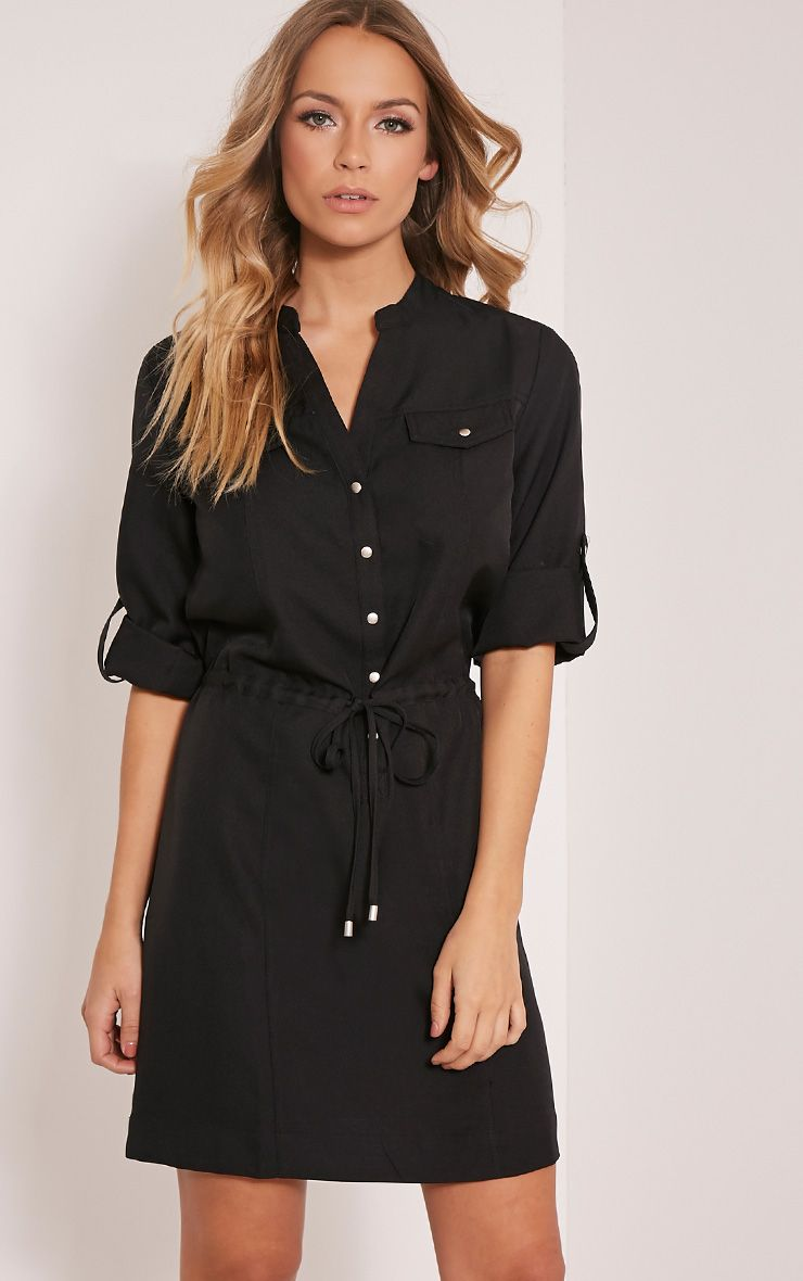 Teeya Black Collarless Shirt Dress 1