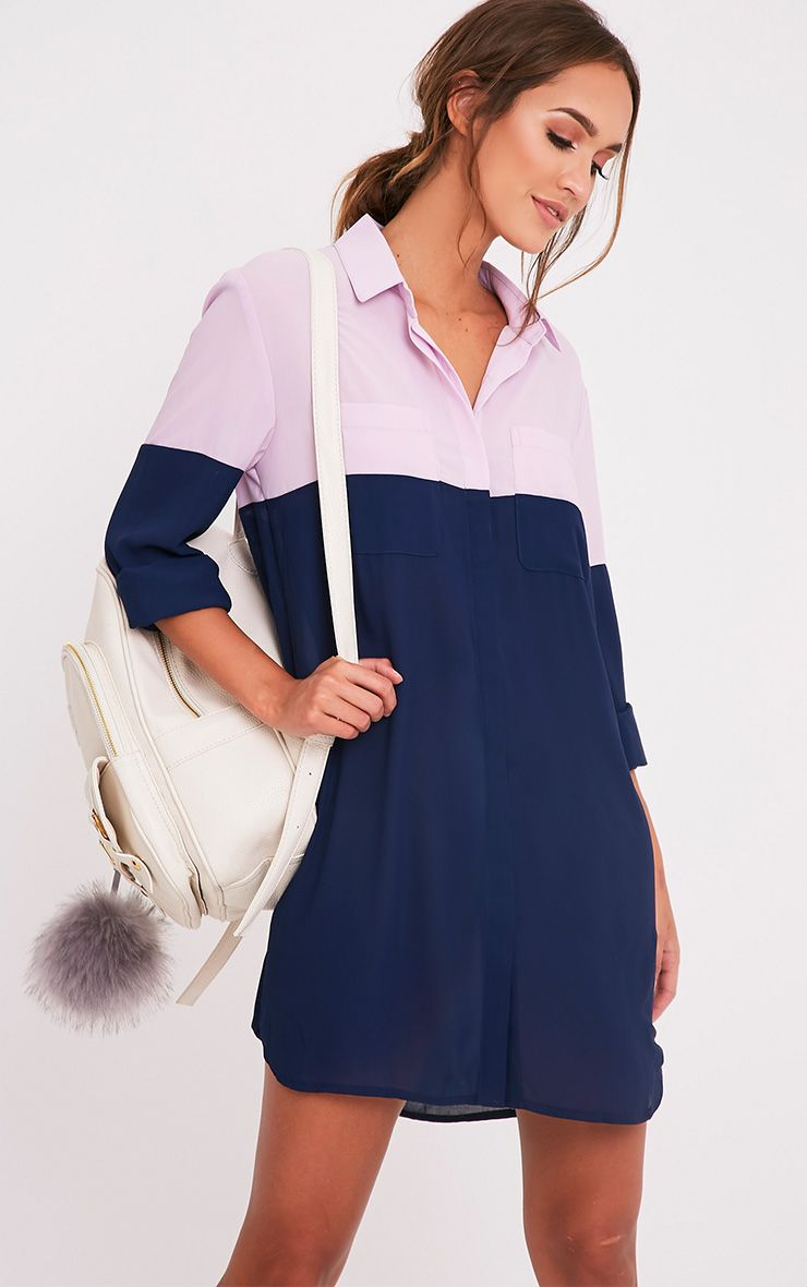 Rachia Navy Colour Block Shirt Dress 1