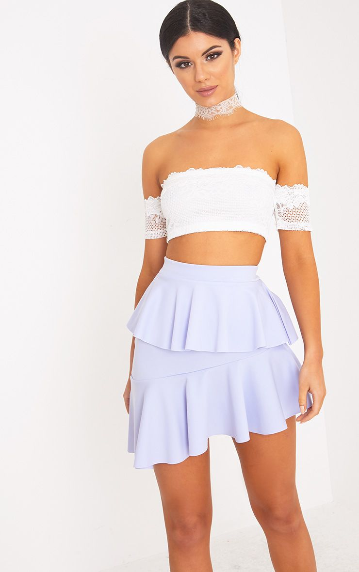 Symone Baby Blue Asymmetric Frill Mini Skirt