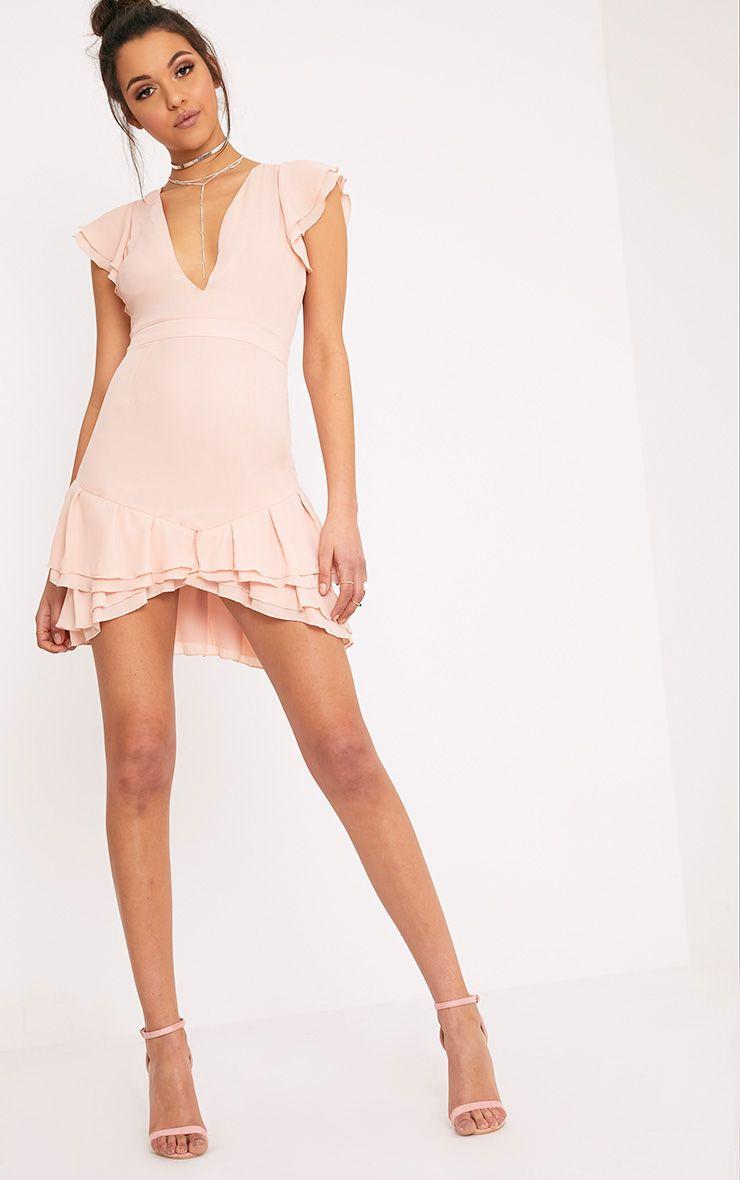 Nieva Blush Chiffon Frill Detail Bodycon Dress