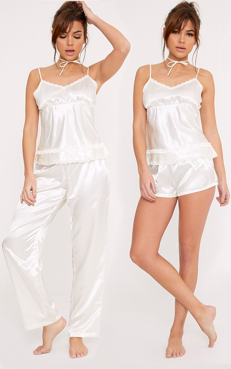 Leela Cream 3 Piece Cream Satin PJ Set