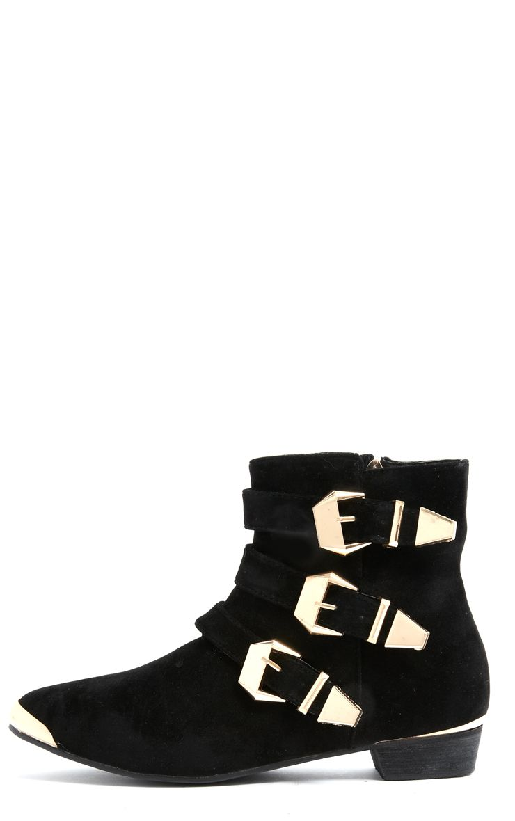 Katerina Black Suede Triple Buckle Ankle Boot 1