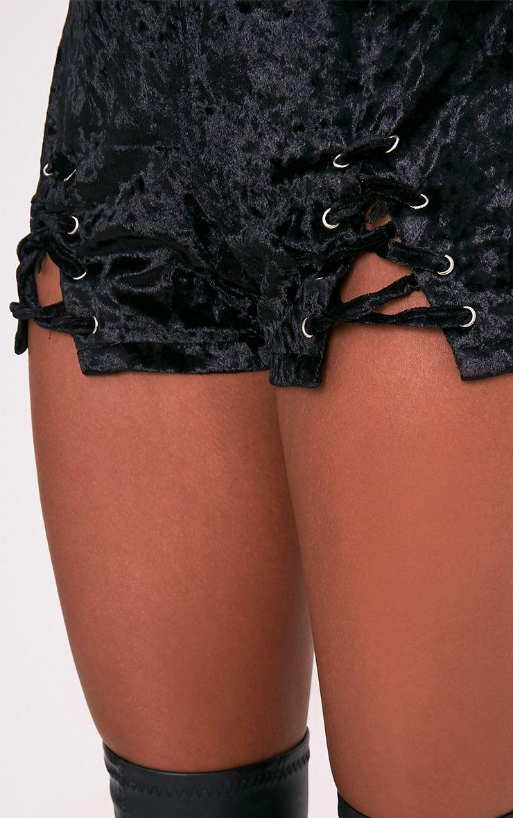 Aly Black Crushed Velvet Lace Up Hotpants 7