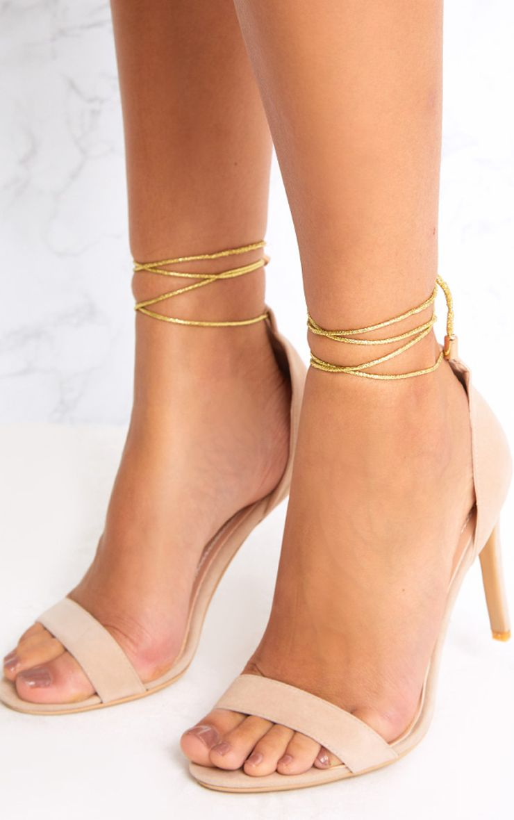 Talena Nude Knotted Strappy Heels