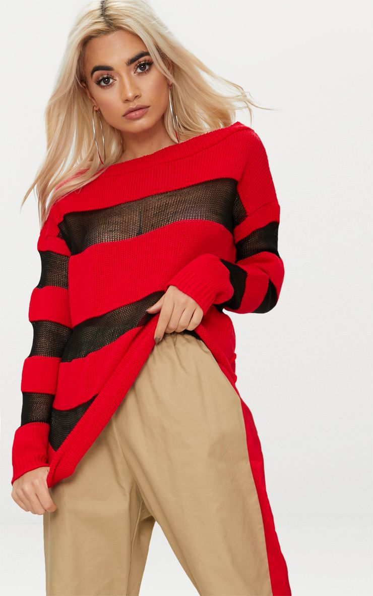 Red Sheer Stripe Jumper