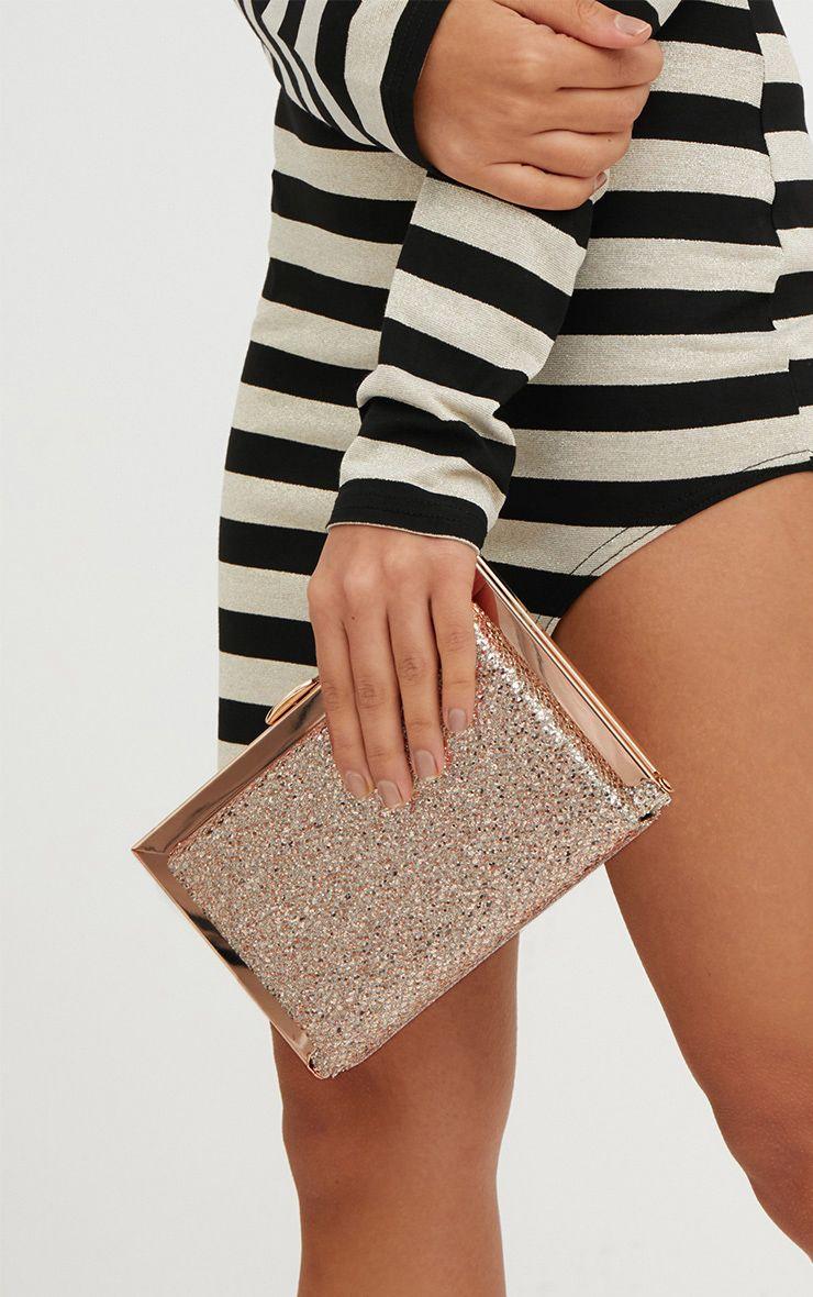 Gold Glitter Metal Clutch Bag 1