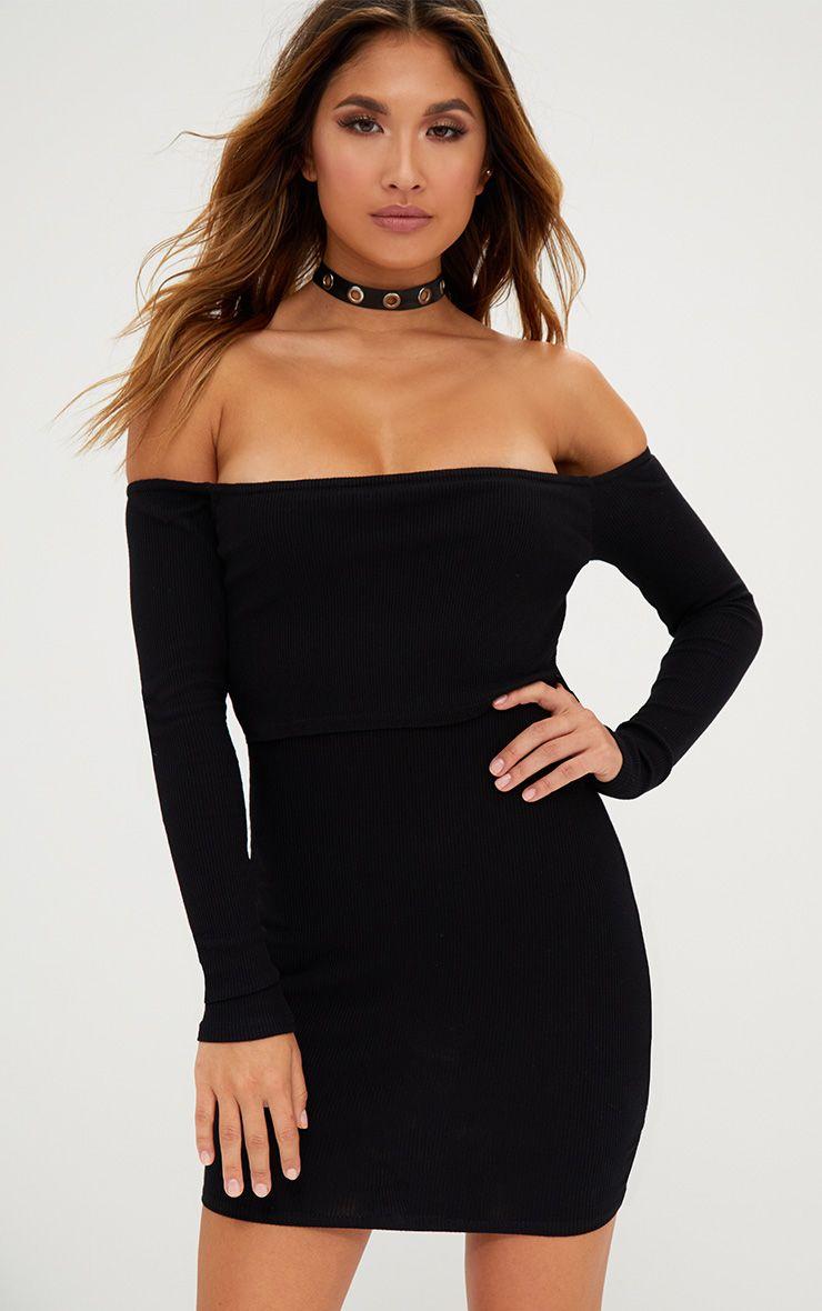 Black Ribbed Bardot Overlay Bodycon Dress