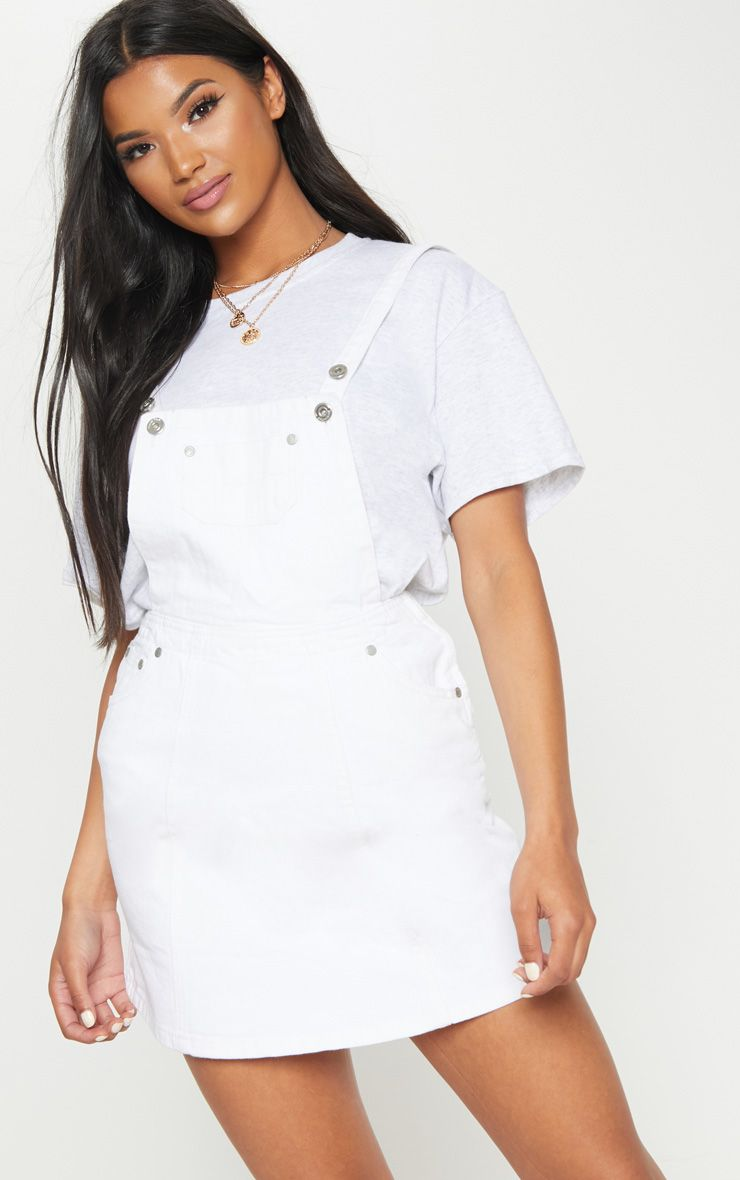 White Zip Front Denim Pinafore Dress
