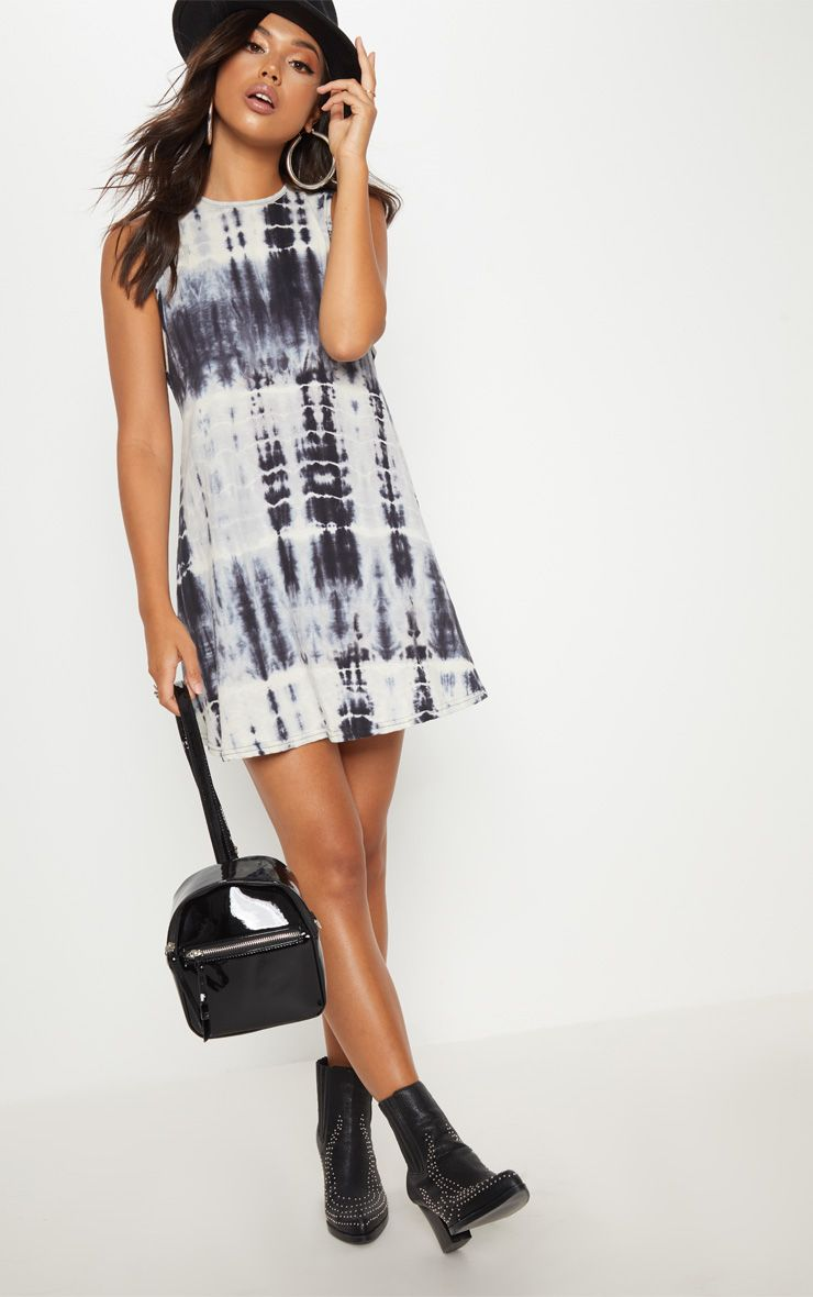Monochrome Tie Dye Shift Dress