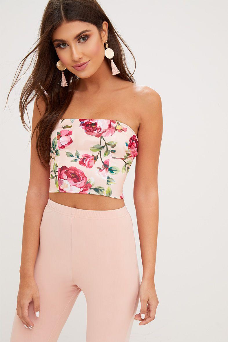 Pink Floral Printed Bandeau Crop Top