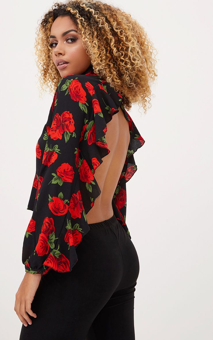 Black Floral Print Frill Detail Open Back Blouse