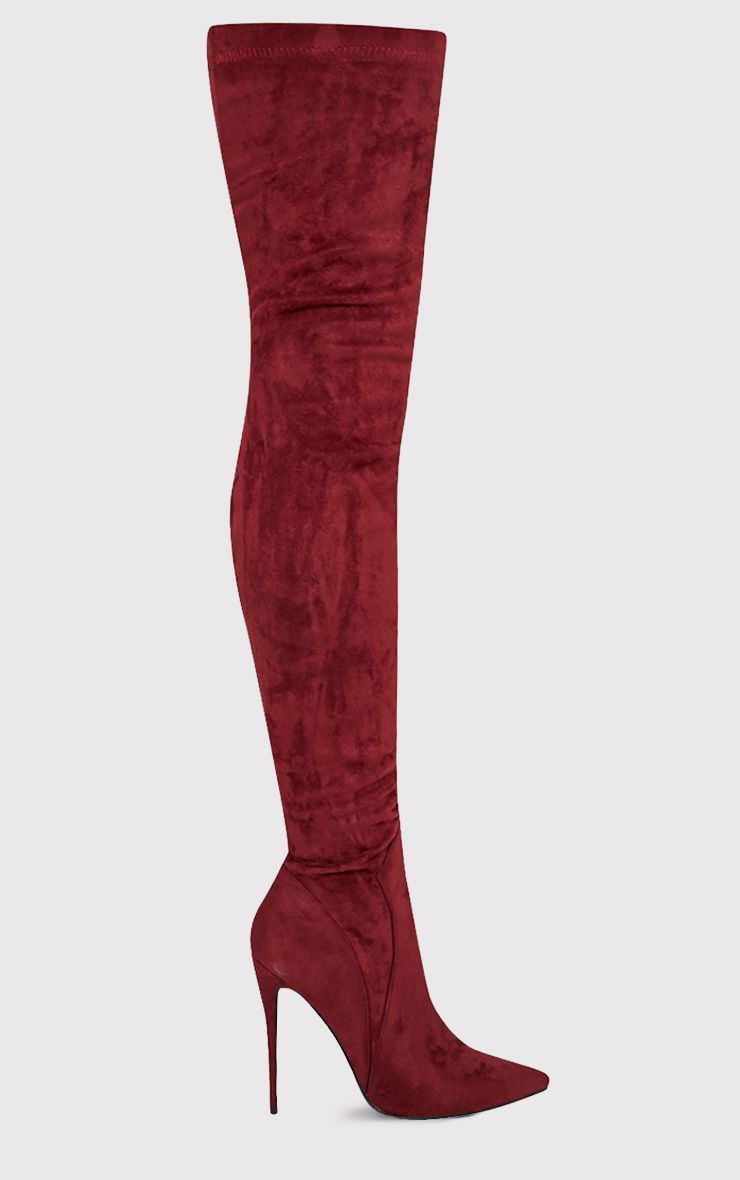 Emmie Burgundy Faux Suede Extreme Thigh High Heeled Boots