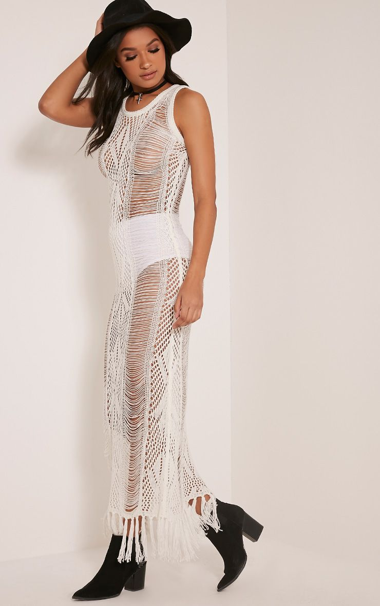 Rashida Cream Crochet Maxi Dress