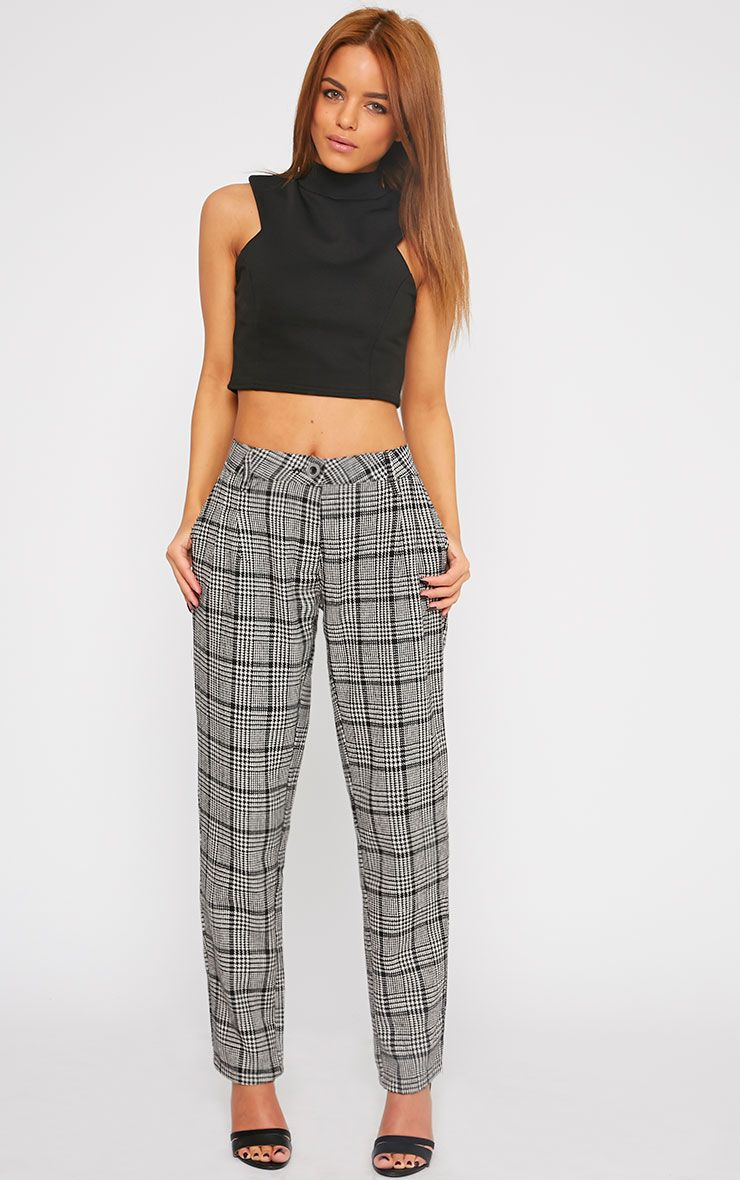 Amelia Dogtooth Tweed High Waist Trousers 1