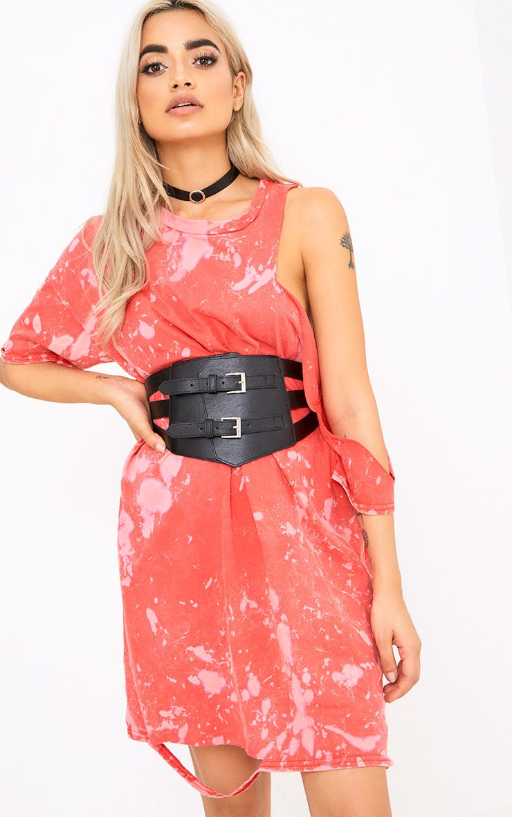 Black Double Buckled Corset Belt