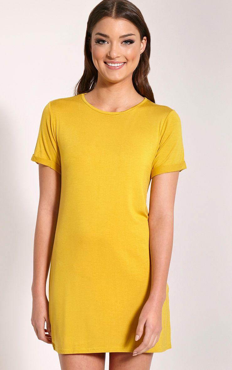 Basic Mustard Boyfriend Jersey T-Shirt Dress 1