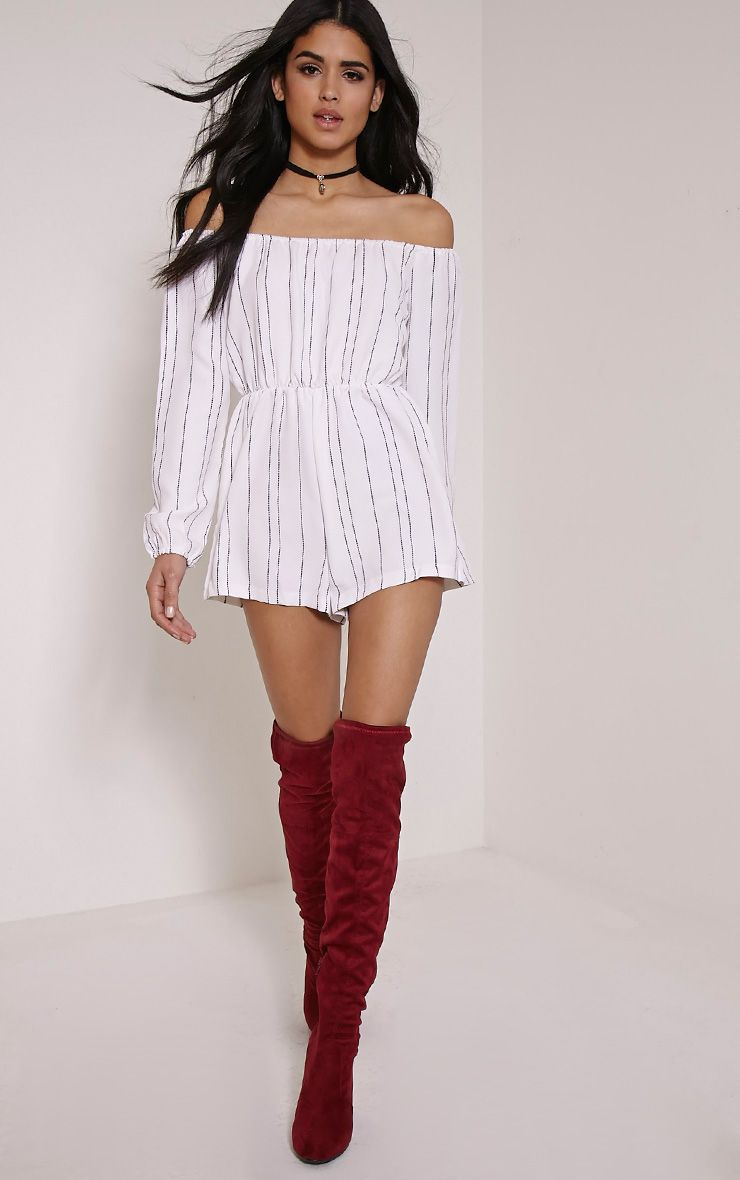 Kennie White Bardot Pinstripe Playsuit
