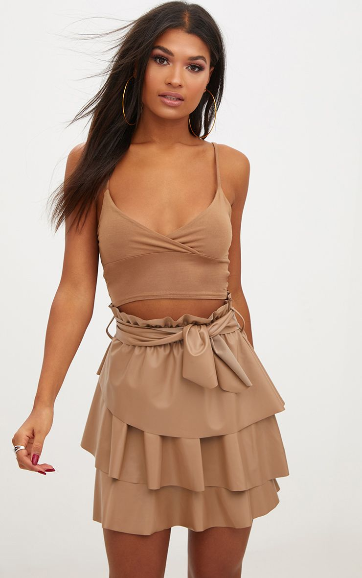 Camel Faux Leather Paperbag Frill Mini Skirt