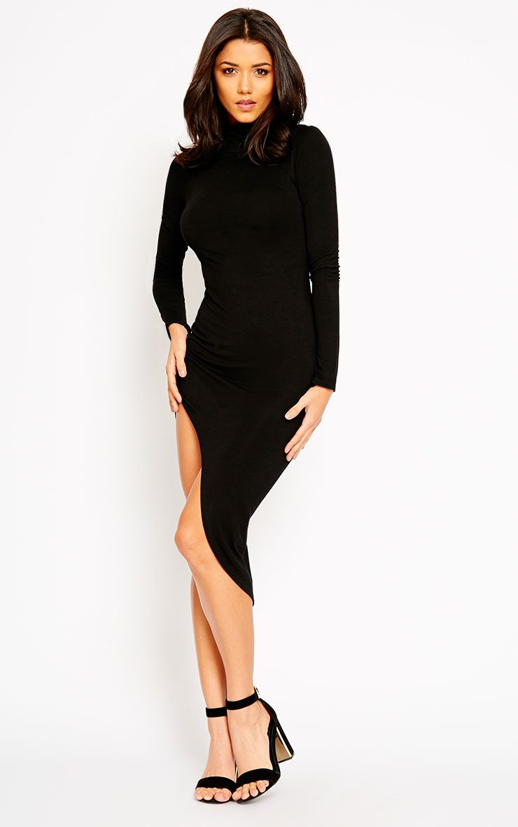 Ricky Black High Neck Jersey Dress 1