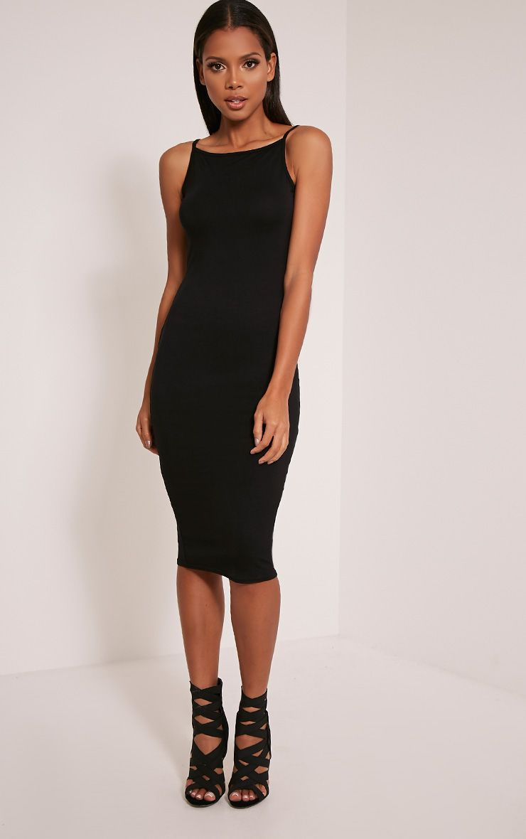 Basic Black Racer Neck Midi Dress