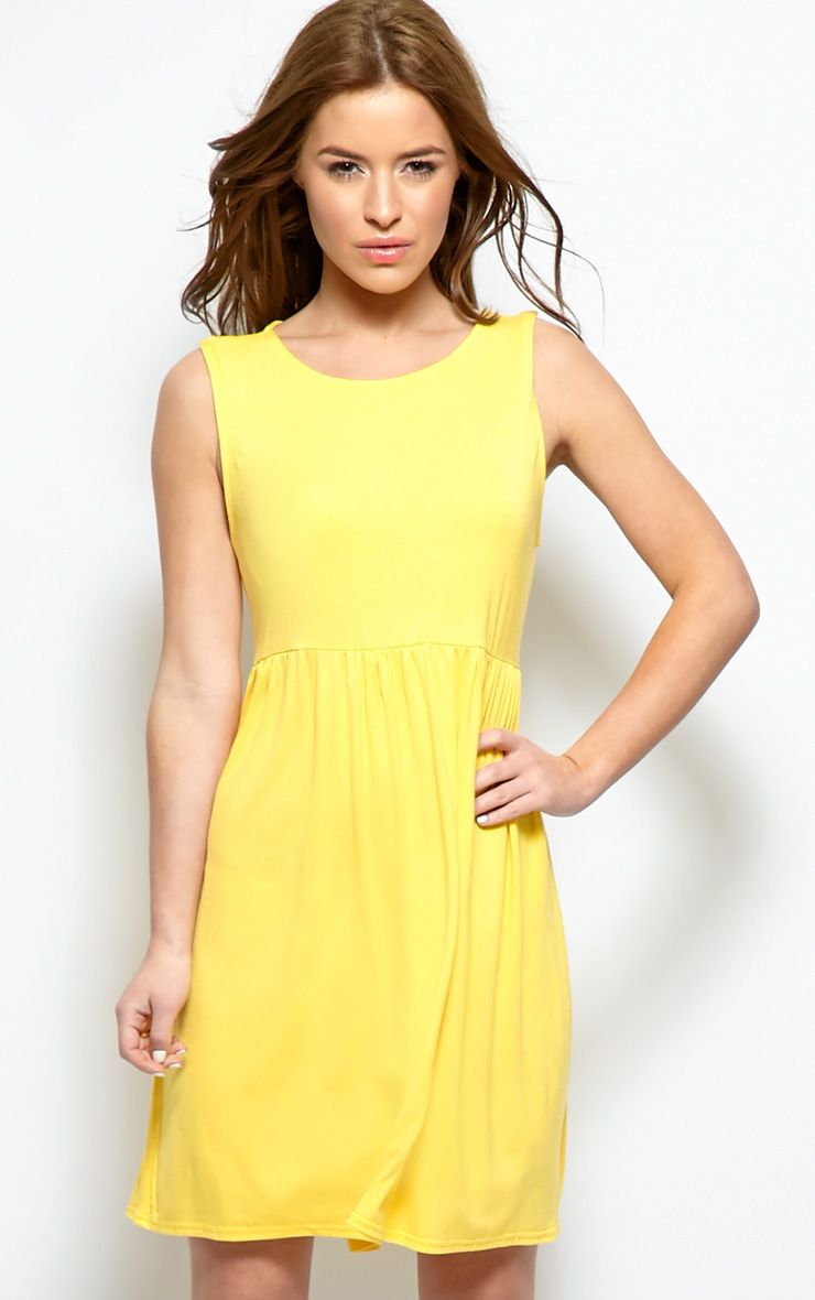 Kirsten Yellow Sleeveless Smock Dress  1