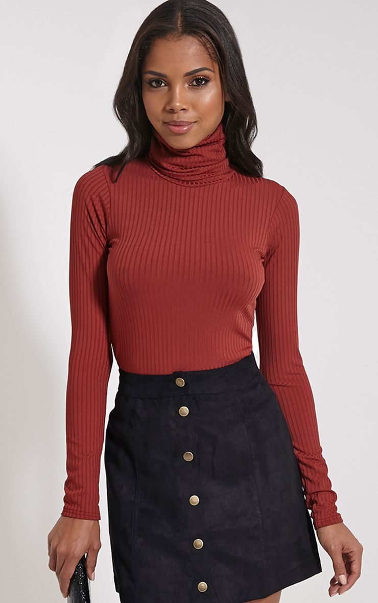 Rheta Rust Ribbed Polo Neck Top