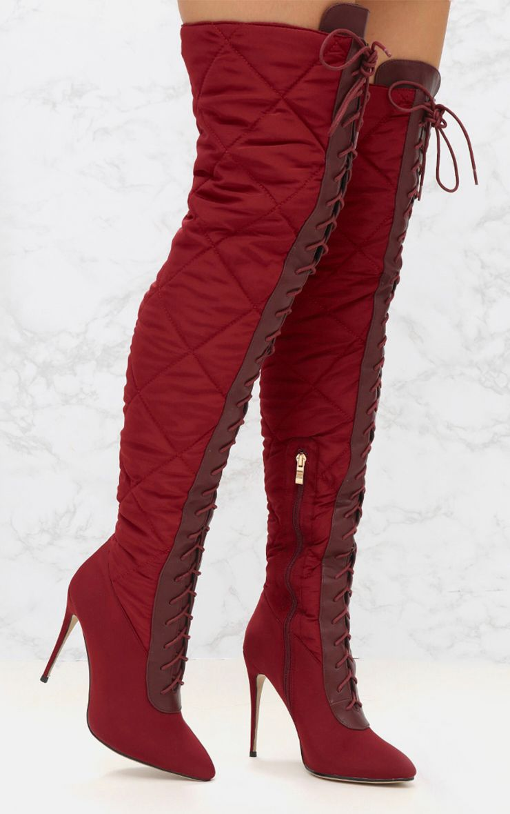 Burgundy Thigh High Puffer Heeled Boots