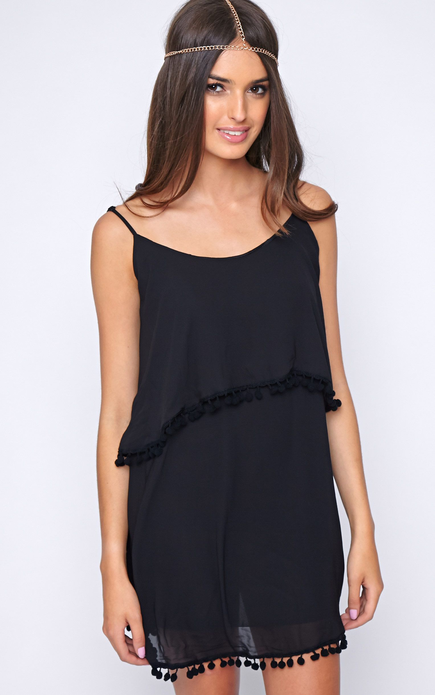 Harper Black Pom Pom Frill Dress 1