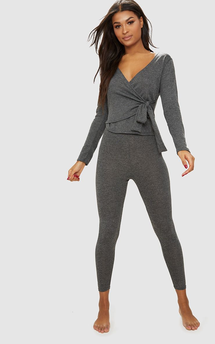 Grey Wrapover Knitted Co Ord Set